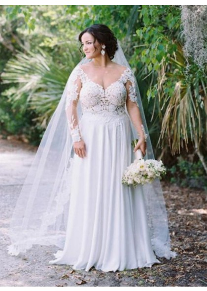 Cheap A Line Chiffon Sweetheart Long Sleeves Plus Size Wedding Dresses